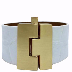 Wide White Alligator Jigsaw Cuff