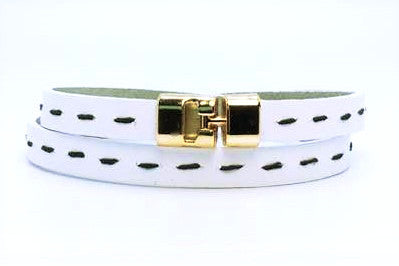 Double T-Bar Bracelet White Stitch Leather