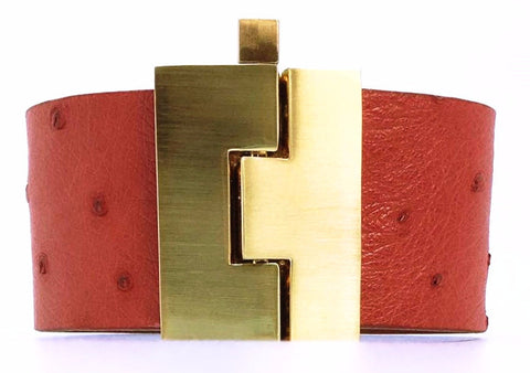 Wide Red Ostrich Jigsaw Cuff