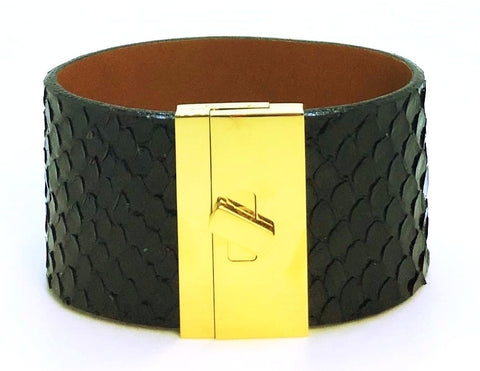 Wide Turnlock Cuff - Black Anaconda