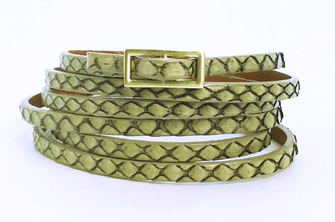 Six Wrap Bracelet Antique Python