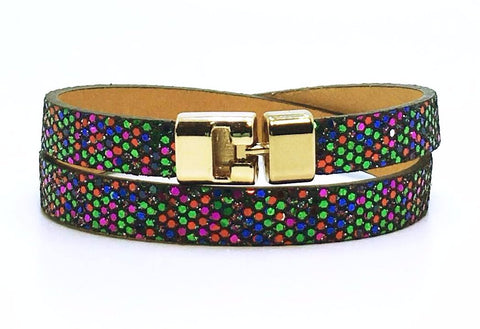 Sale Double T-Bar Bracelet Multi Glitter Leather