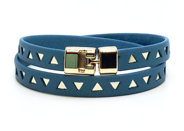 Double T-Bar Bracelet Sky Blue and Gold Triangle Leather
