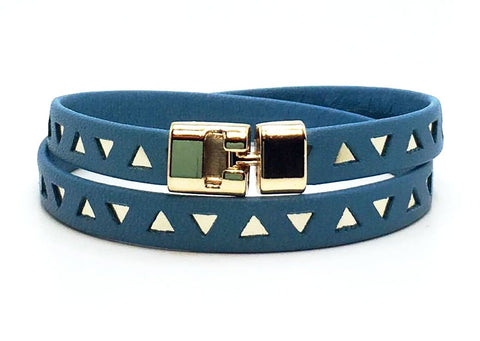 Sale Double T-Bar Bracelet Sky Blue and Gold Triangle Leather