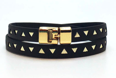 Double T-Bar Bracelet Black and Gold Triangle Leather