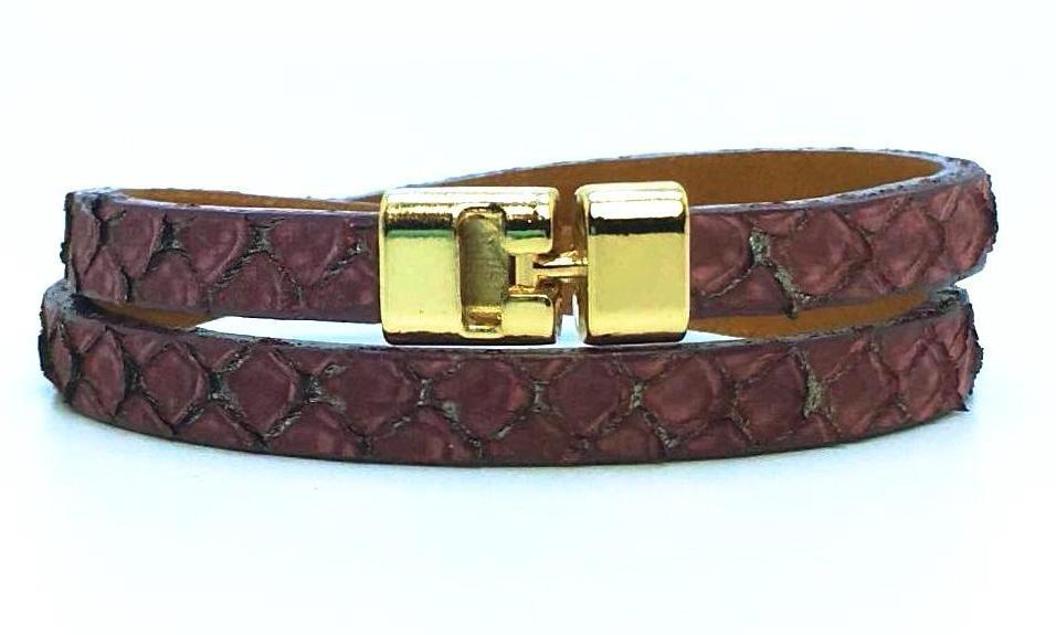 Double T-Bar Bracelet Canyon Python