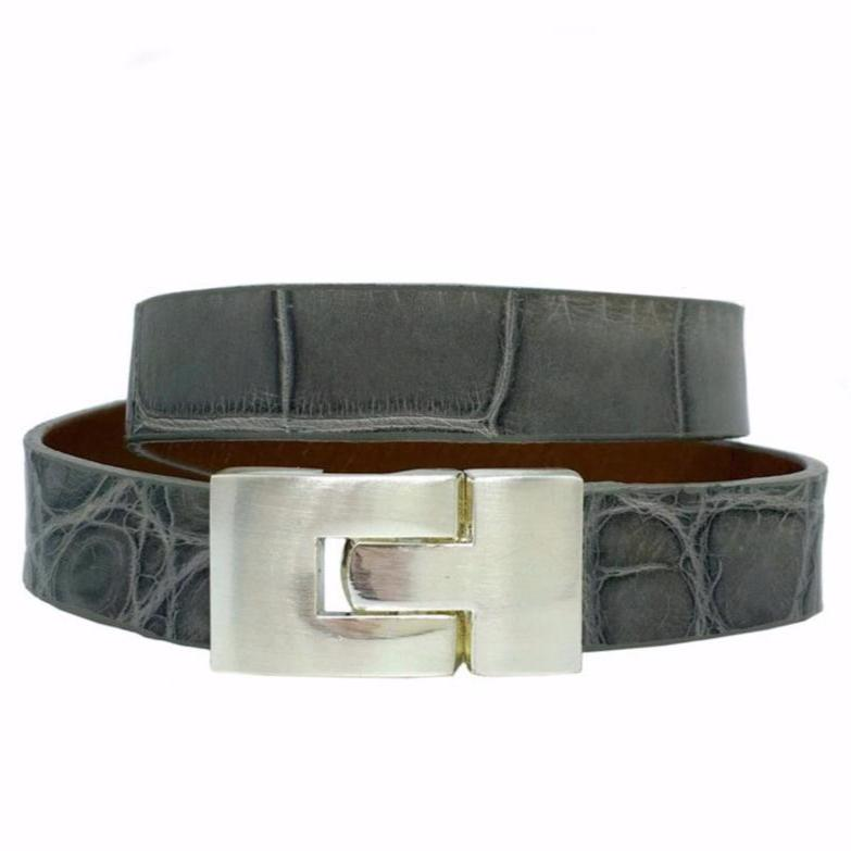 Double Jigsaw Bracelet Soft Gray Alligator