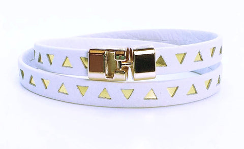 Double T-Bar Bracelet White and Gold Triangle Leather