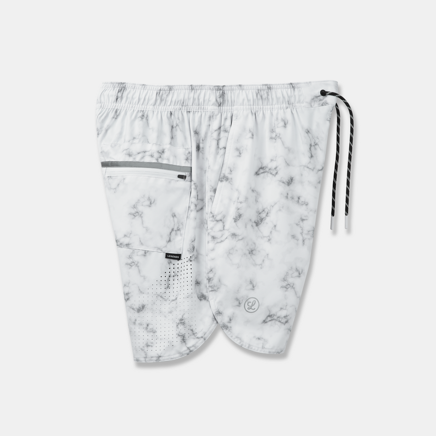 Luka Short Split White Black Marble