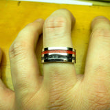 Black and Red Stripe Ring