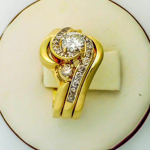 Gold Bypass Style Engagement Ring