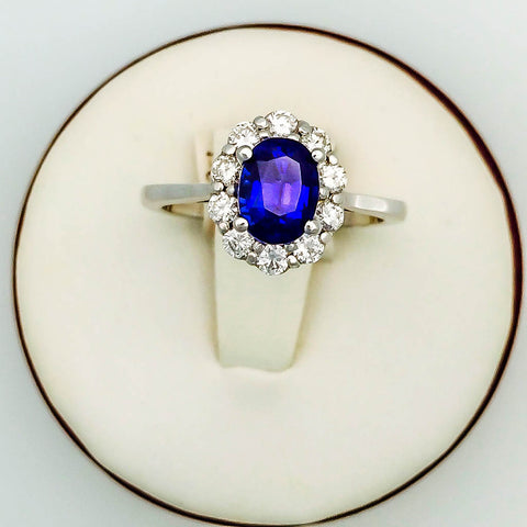 Blue Saphire with Diamond Halo Engagement Ring