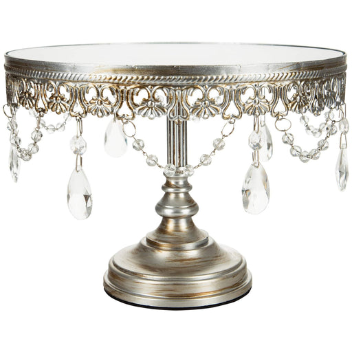 CAKE STAND MIRROR TOP SILVER 10""