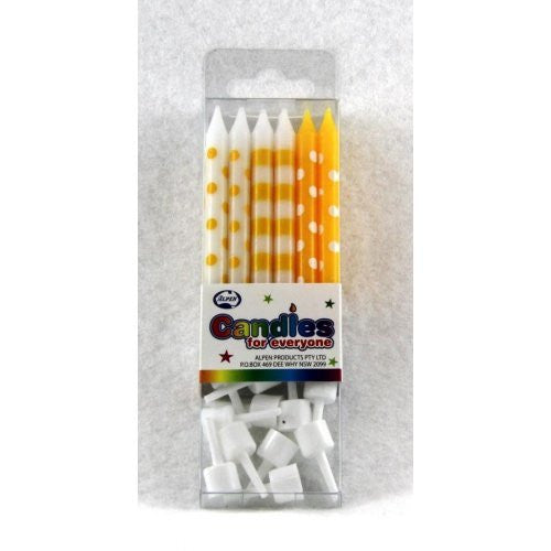 CANDLE DOT & STRIPE YELLOW 12PC