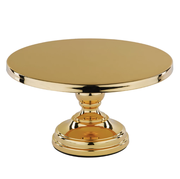 CAKE STAND FLAT TOP GOLD PLATED 12