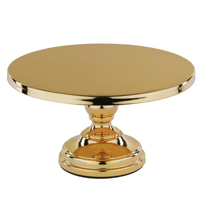 CAKE STAND FLAT TOP GOLD PLATED 12""
