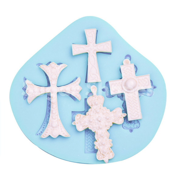 SILICONE MOULD CROSS ASSORTED 4PC