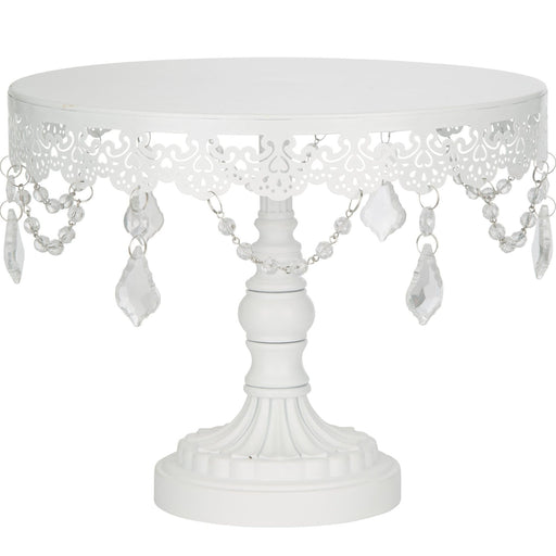 CAKE STAND CRYSTAL WHITE 10""