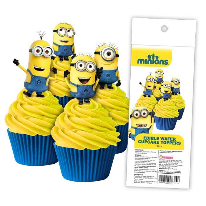 EDIBLE WAFER CUPCAKE TOPPERS 11PC MINIONS