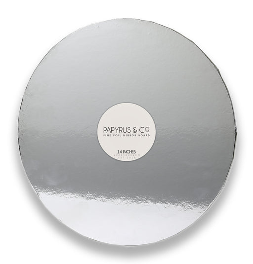 MIRRORED MASONITE BOARD ROUND SILVER 14""