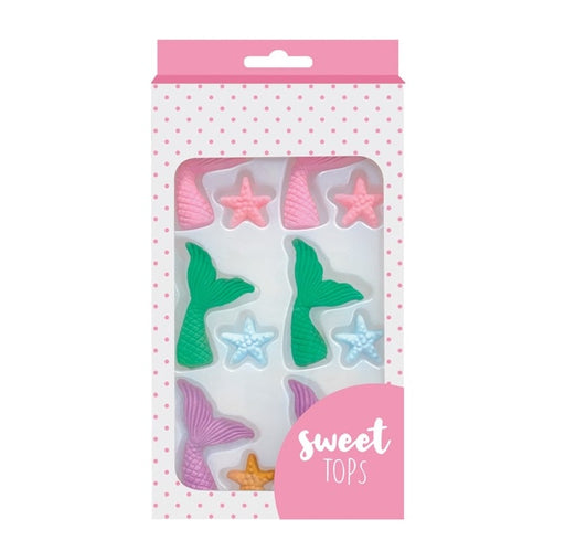SWEET TOPS SUGAR DECORATIONS MERMAID TAIL & STARFISH 12PC