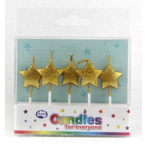 CANDLE STARS GLITTER GOLD 5PC