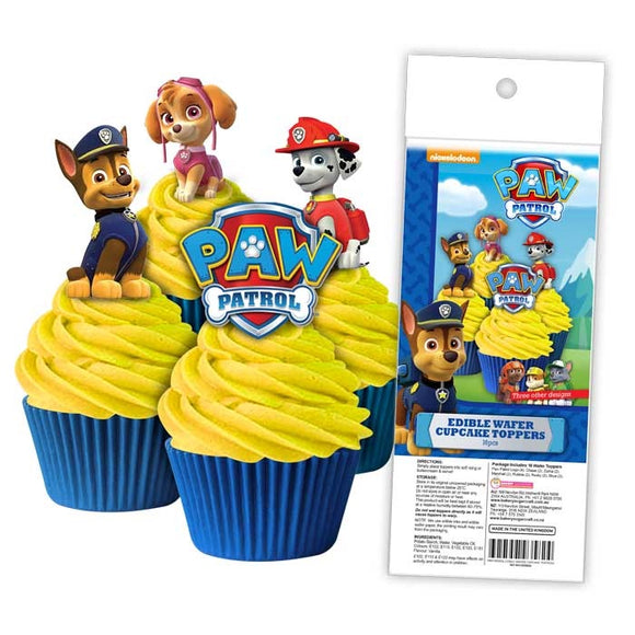 EDIBLE WAFER CUPCAKE TOPPERS 16PC PAW PATROL
