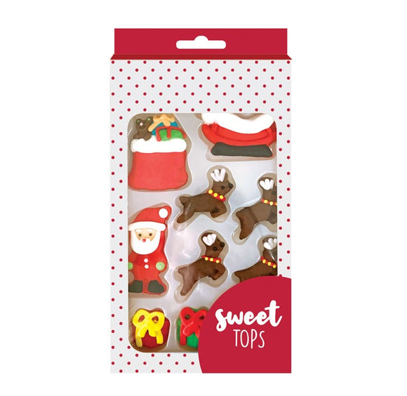SWEET TOPS SUGAR DECORATIONS  CHRISTMAS 10PC