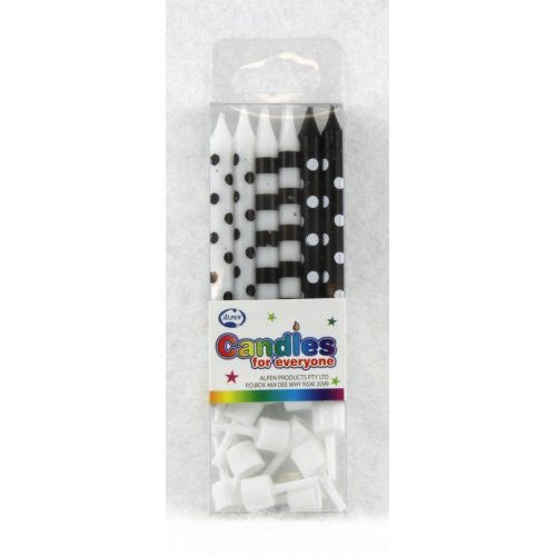 CANDLE DOT & STRIPE BLACK 12PC