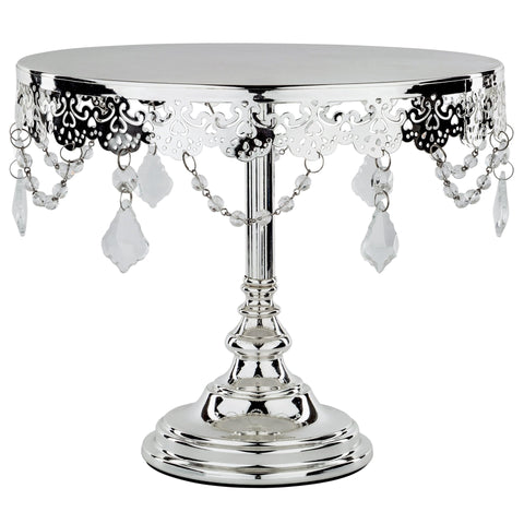 CAKE STAND CRYSTAL SILVER PLATED 10""
