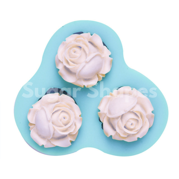 SILICONE MOULD ROSE 3PC