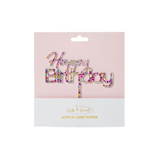 CAKE TOPPER RAINBOW GLITTER HAPPY BIRTHDAY 1