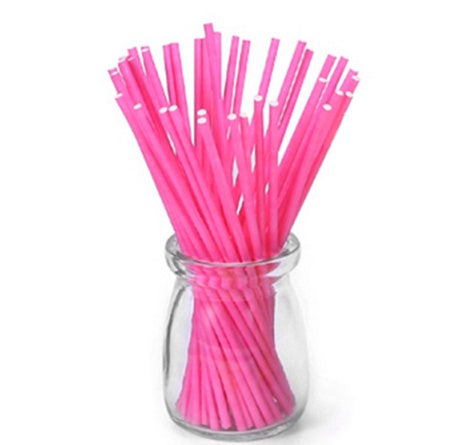 LOLLIPOP STICKS 15CM 50PC BRIGHT PINK