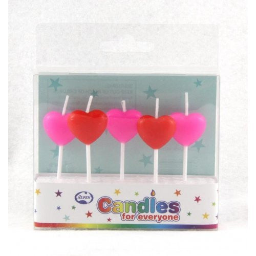 CANDLE HEARTS RED & PINK 5PC