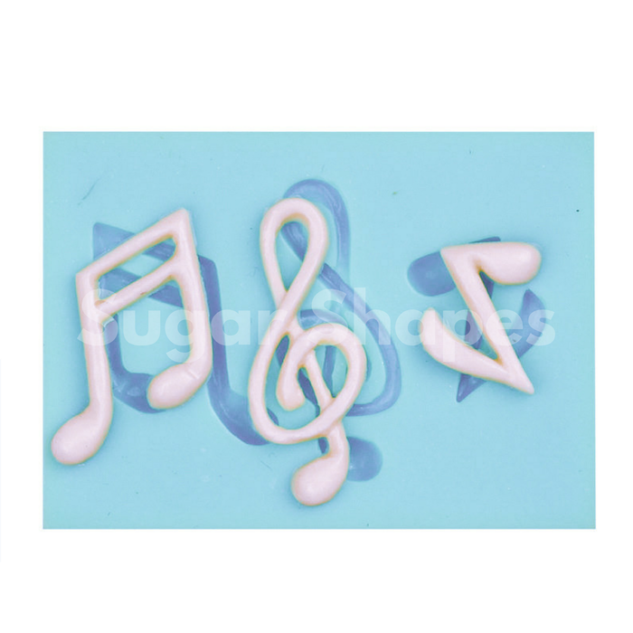 SILICONE MOULD MUSIC NOTE ASSORTED 3PC