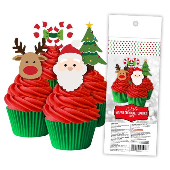 EDIBLE WAFER CUPCAKE TOPPERS 16PC CHRISTMAS