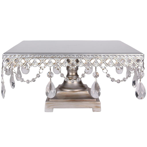 CAKE STAND CRYSTAL SQUARE SILVER