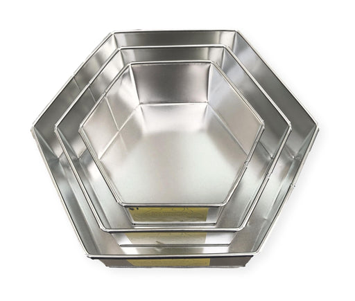 CAKE TIN HEXAGON 8""