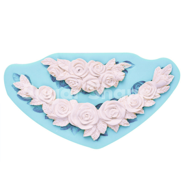 SILICONE MOULD ROSE BORDER 2PC