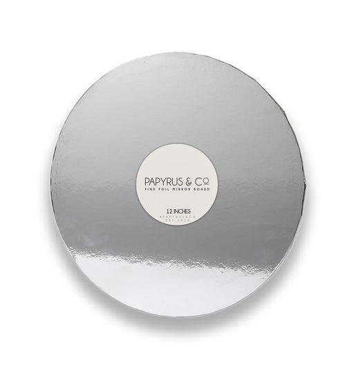 MIRRORED MASONITE BOARD ROUND SILVER 12""