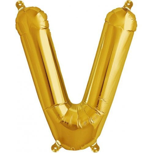 "ALPHABET BALLOON GOLD 16"" V"