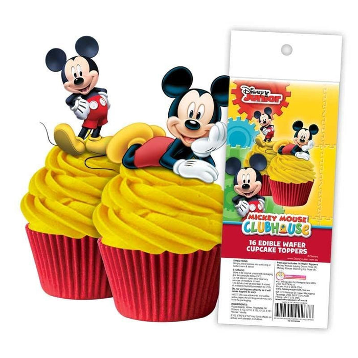 EDIBLE WAFER CUPCAKE TOPPERS 16PC MICKEY MOUSE