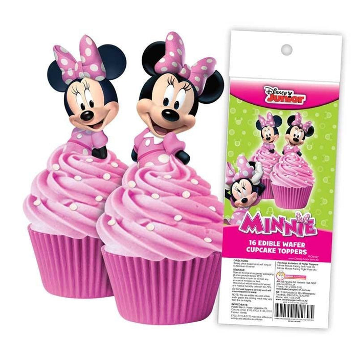 EDIBLE WAFER CUPCAKE TOPPERS 16PC MINNIE MOUSE