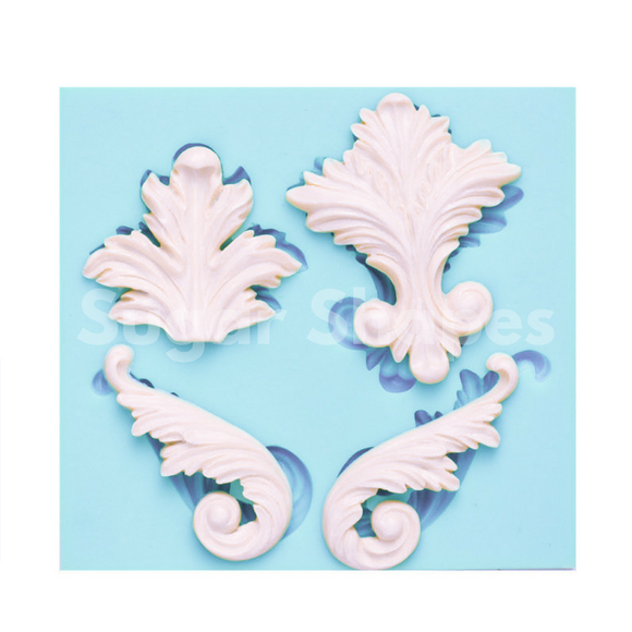 SILICONE MOULD BAROQUE 4 ASSORTED 4PC