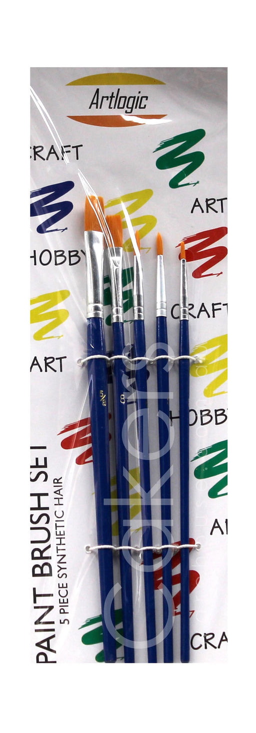 PAINT BRUSH 5PC BLUE