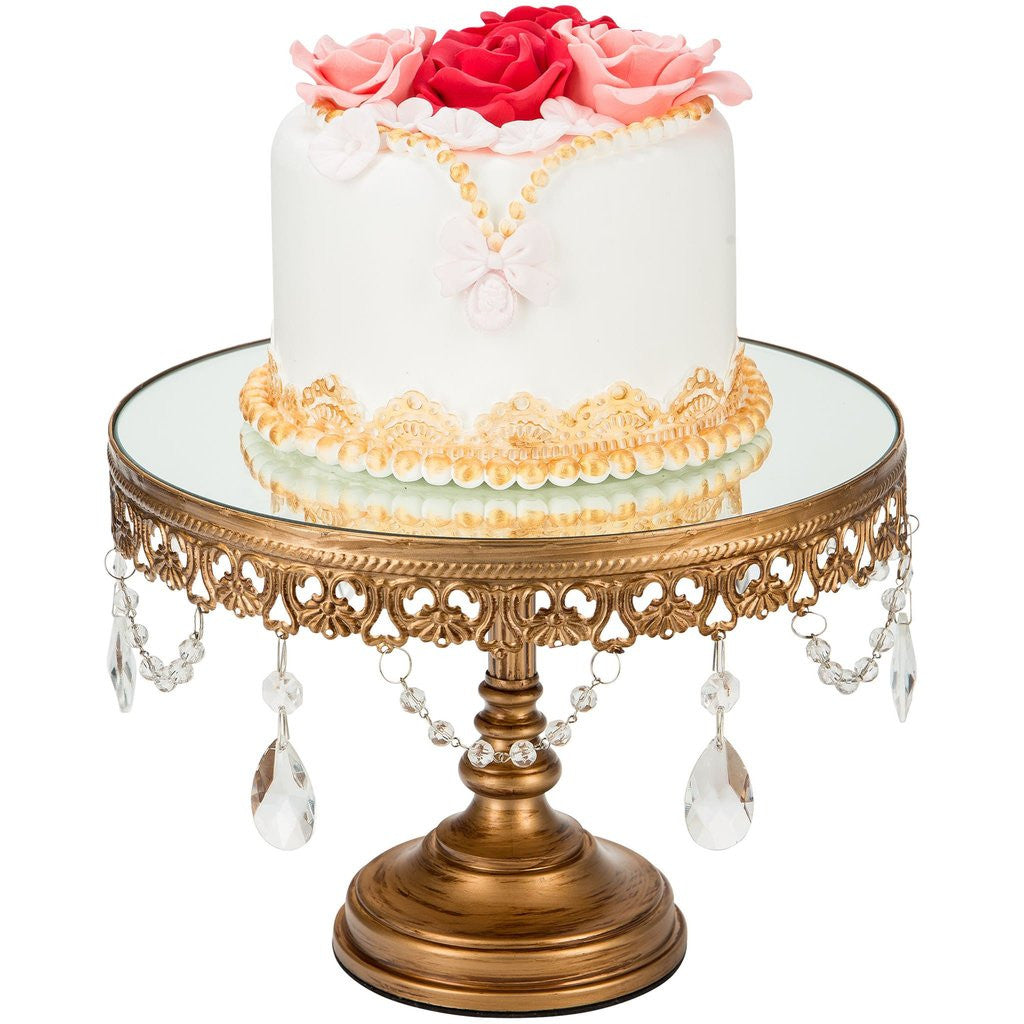 CAKE STAND MIRROR TOP GOLD 10\