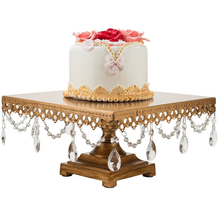 CAKE STAND CRYSTAL SQUARE GOLD