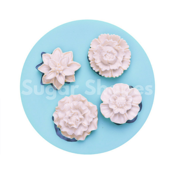 SILICONE MOULD FLOWERS ASSORTED 4PC