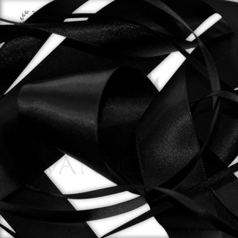 RIBBON POLY SATIN BLACK 25MM