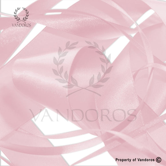 RIBBON POLY SATIN POWDER PINK 15MM